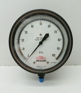 """Helicoid G3G1E9A1F0000000 Pressure Test Gauge 0-100PSI, 6"""" Face, 0.25%, 1/4""""NPT"""