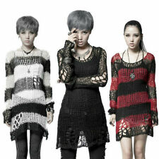 Casual Gothic Hole Sweater Visual Kei Cut Black Steampunk coat punk Shirt Top