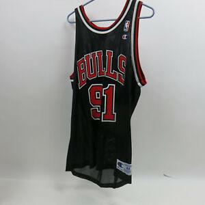 Vintage 90s Champion Chicago Bulls NBA #91 Dennis Rodman Basketball Jersey SZ 44