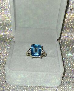 9k 5.550ct Swiss Blue Topaz & Diamond Ring, UK Ring Size N