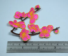 PINK CHERRY BLOSSOM FLOWERS 3' 8cm  SEW IRON ON  PATCH BADGE EMBROIDERY APPLIQUE