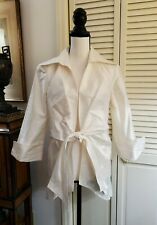3 Sisters 100% silk tie front Topper Jacket Sz L - Ivory