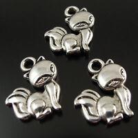 80PCS Antique Silver Tone Alloy Lovely Fox Charms Pendant Hot Sale 14*12*2mm