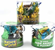 KandyToys 18 Piece Dinosaurs Play Set in Tub – Prehistoric Playset with Toy