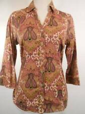Beautiful Women's Small 212 Collection Pink Paisley Design Fitted Button Blouse