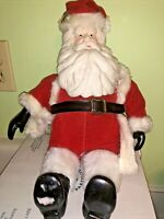 "Vintage SANTA CLAUS Wind Up PLUSH & CERAMIC 15"" Doll"