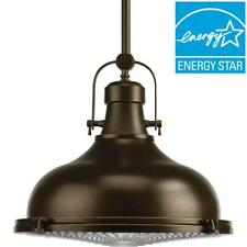 Progress Lighting 1-Light Oil Rubbed Bronze LED Pendant with Fresnel Lens Glass