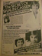 Shaun Cassidy, Book, Full Page Vintage Ad