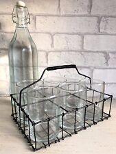 Set of Six Drinking Glasses / Tea Light Holders Vintage Retro Wire Basket Crate