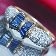18k 750 multi tone gold ring 1.00ct ceylon sapphire diamond size 7 band  2.7gr