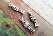 4 Nutcracker Charms Pendants Antiqued Silver Christmas Charms 2 Sided 27mm