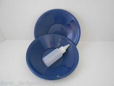 "(2) SE 8"" PANNING GOLD PAN & SNIFFER BOTTLE - BLUE"