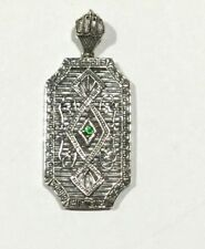 Art Deco Style Sterling Silver and Emerald Filligree Pendant