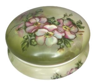 Vintage Nippon Hand Painted Powder  Vanity Trinket Bowl Jar