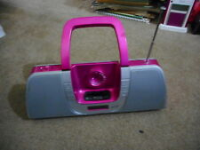 iLive IB209P Apple iPod Docking System AM FM Radio Clock Set Pink Boombox (S6)