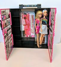Barbie Doll Case With 2 Dolls Pink Hard Plastic Wardrobe Handle Fun Doll Carrier