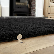 Large Thick Plain Black Colour 5cm High Pile Modern Shaggy Rugs 160 X 230 Cm