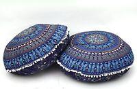 Indien Éléphant Mandala Bleu Pouf Bohème 81.3cm Ottomane Pouf Décor Maison