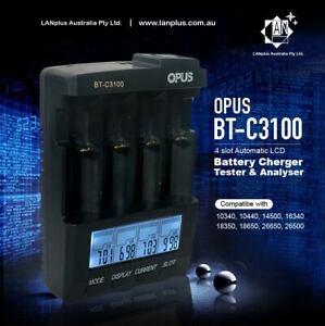 Opus BT-C3100 V2.2 4-Slots Smart Battery Charger Li-ion NiMH 18650 18500 16340