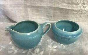(i13) Ruskin Pottery Blue Lustre Jug and Bowl