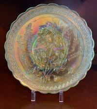 ALIG Imperial Lenox Yellow Vaseline Carnival Glass Chrysanthemum Dinner Plate