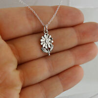 Tiny Daisy Flower Necklace - 925 Sterling Silver - Charm Flowers Floral NEW