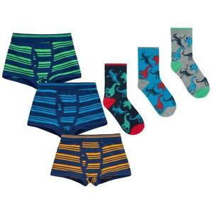 Boys Socks Set Kids Childrens Boxer Trunks Shorts Cotton Underwear Dinosaur