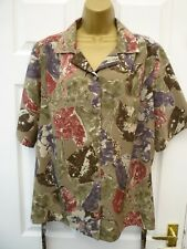 UNBRANDED Ladies Size 24 26 Khaki Green Multi Floral Smart Casual Blouse Top