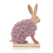 Purple Wooden Woolly Small Sitting Rabbit, Rabbit, Bunny, Giftware