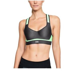 Under Armour Women's Warp Knit High Impact Bra 32A Charcoal and Green Reflective