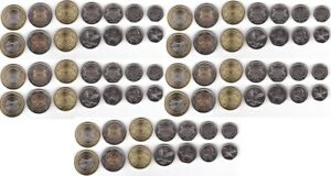 Botswana - 5 pcs x set 6 coins 5 10 25 50 Thebe 1 2 Pula 2013 - 2016 UNC
