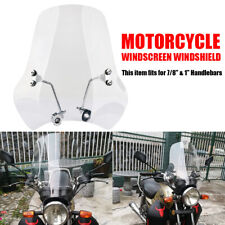Universal 7/8'' 1'' Motorcycle Clear Windshield Wind Screen For Honda Yamaha BMW