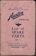 Austin Twelve 12 original UNILLUSTRATED Spare Parts List 1936 Pub. No 1489