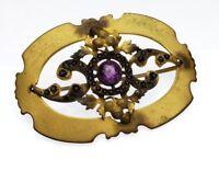 Antique Victorian C clasp Gorgeous Ornate Grape, Amethyst Rebirth Pin Brooch