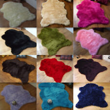 PLAIN SOFT FLUFFY SHEEPSKIN STYLE FAUX FUR SINGLE RUGS 70 X 100CM WASHABLE