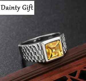 DAINTY Men Women Titanium Steel Yellow Cubic Zircon Square Stone Ring 8-12