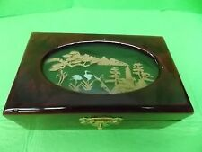 CHINESE JEWELRY BOX- LACQUER W SCULPTURED CORK CARVING ART -REALLY PRETTY