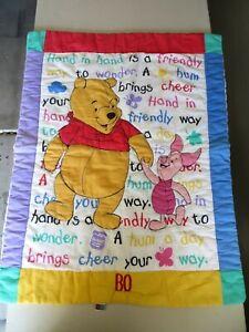 Disney Classic Winnie Pooh PIGLET RARE Crib Comforter security Blanket 1997