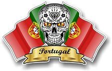 Mexican Sugar Skull & Portugal Portuguese Flags vinyl car helmet sticker decal