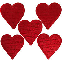 5 X Small Red Love Heart Patches Iron Sew On Clothes Bag Embroidered Badge Patch