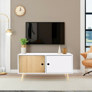 Double Doors Cabinet TV Stand Standing Cupboard Storage Sideboard with Wood Legs