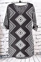 Renee C Tunic Dress Small Black White Geometric Print V Neck 3/4 Sleeve BOHO