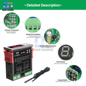 STC-1000 Digital Temperature Controller AC110-220V Thermostat + NTC Probe Sensor