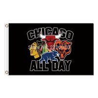 Chicago City All Team Flag Blackhawks Cubs Bears Bulls Flag