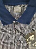 Haggar Golf Mens Polo Shirt Short Sleeve Navy Blue White Golf Clubs Size XL NEW