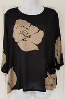 Womens Masai Clothing Co Black Gold Pocket Split Back Lagenlook Blouse Top S.
