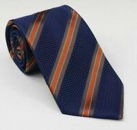 NWT Saks Fifth Avenue Men's Silk Blue Striped Repp Jerome Macy Neck Tie 57L 3.5W