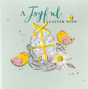 A Joyful Easter Wish Greeting Card Buttoned Up Embellished Greetings Cards