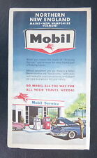 1962 Northern New England Maine New Hampshire Vermont road map Mobile oil  gas