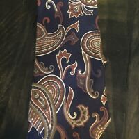 """Sheaf and Caber Paisley Necktie Blue 58"""" 100% Silk Made in USA Tie"""